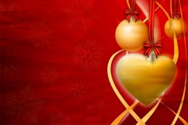 kerstballen in hartvorm